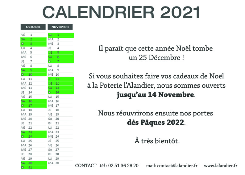 calendrier automne 2021